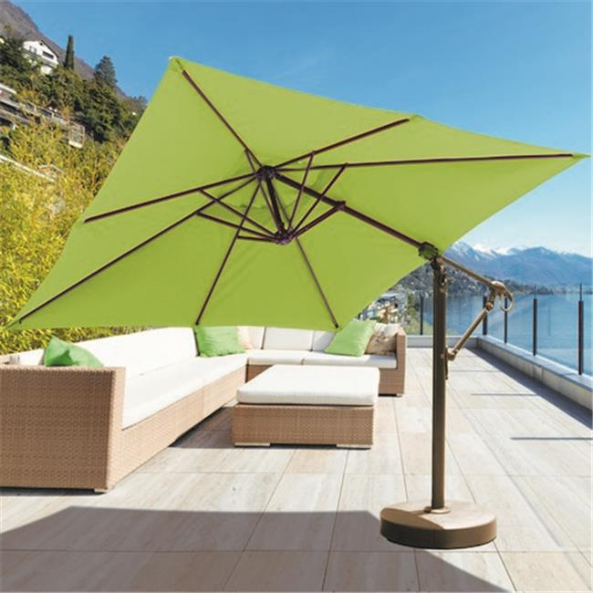 Galtech 10 x 10 ft.  Antique Bronze Cantilever Umbrella - Jockey Red Sunbrella