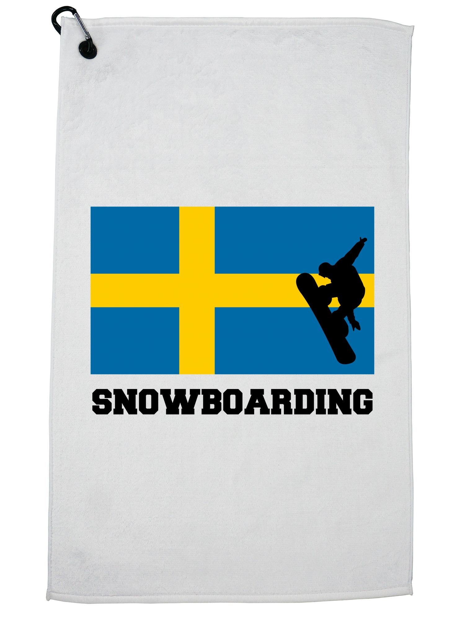 Sweden Olympic Snowboarding Flag Silhouette Golf Towel with Carabiner Clip by Hollywood Thread