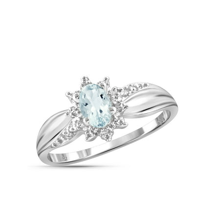 0.44 Carat T.G.W. Aquamarine Gemstone and Accent White Diamond Women