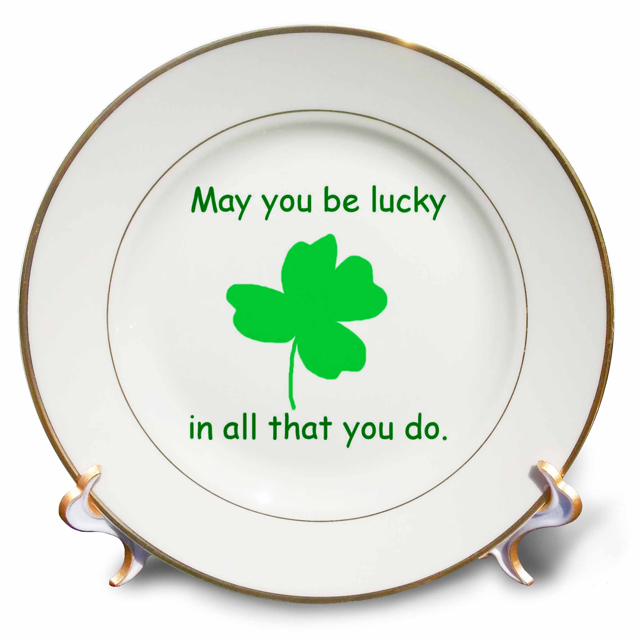 3dRose May you be lucky in all that you do Green Shamrock, Porcelain Plate, 8-inch