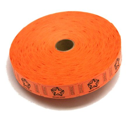 1 X 2000 Orange Star Single Roll Consecutively Numbered Raffle Tickets, 2000 Orange Star Single Roll Raffle Tickets By 50/50 Raffle Tickets