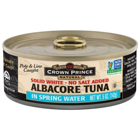 Crown Prince Natural White Albacore Tuna In Spring Water-No Salt Added, 5 - Prince Crown