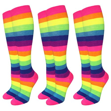 3 Pairs Neon Rainbow Stripe Knee High Socks Size 9-11 Fashion Bright Multi-Color - Long Neon Socks