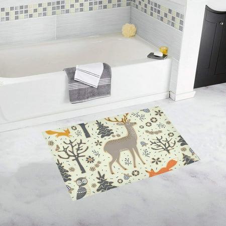 CADecor Owl Deer Fox Squirrel Birds Trees Doormat Non Slip Bathroom/Floor Mats Bath Rug 30x18