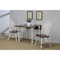 Sunset Trading DLU-ADW3448-820-AW3PC Drop Leaf Dining Set - Antique White with Chestnut Top & Arrowback Chairs, 3 Piece