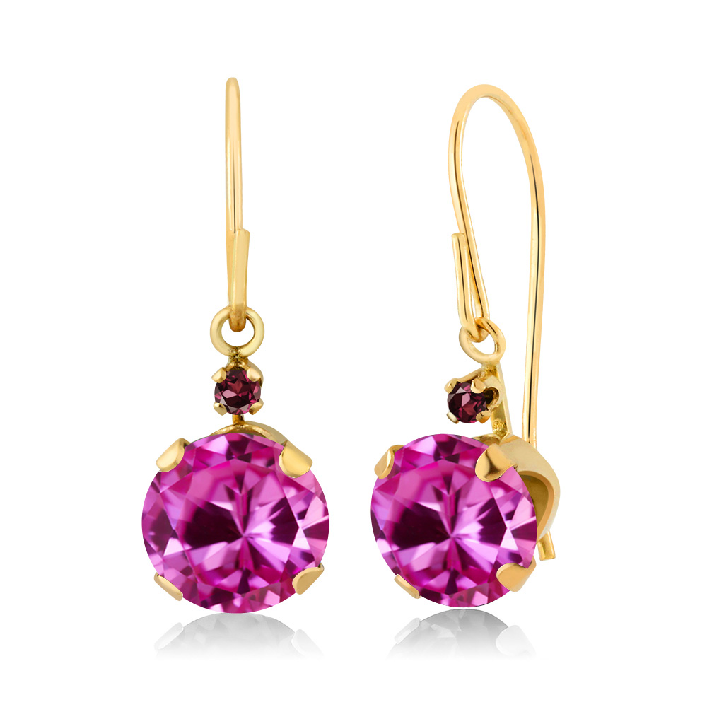 2.05 Ct Pink Created Sapphire Red Rhodolite Garnet 14K Yellow Gold Earrings by