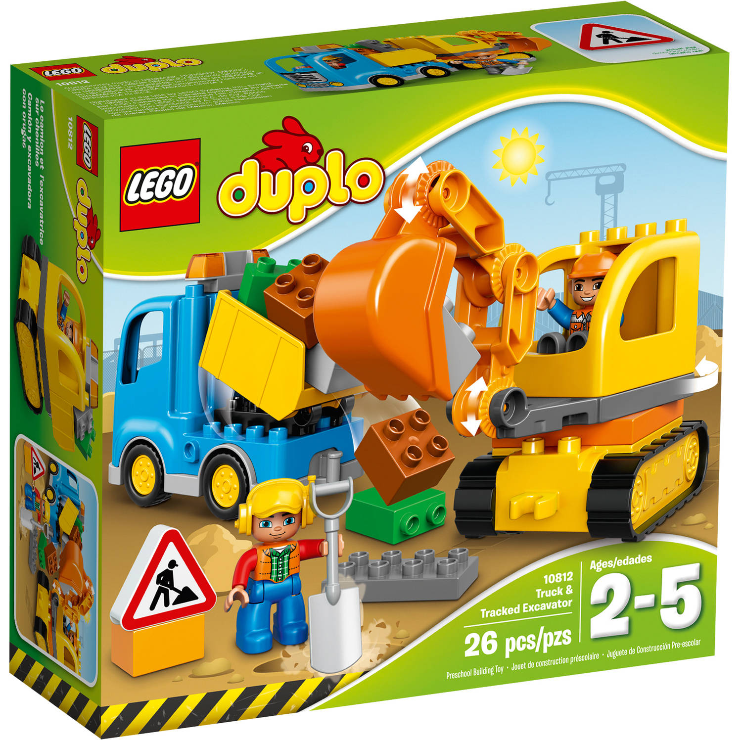 LEGO DUPLO Town Truck & Tracked Excavator Building Set, 10812