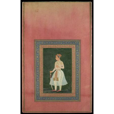 Portrait Of A Noble In Gauzy White Costume Folio From The Davis Album Poster Print  18 X 24