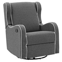 Angel Line Rebecca Upholstered Swivel Gliding Recliner, Dark Gray Linen