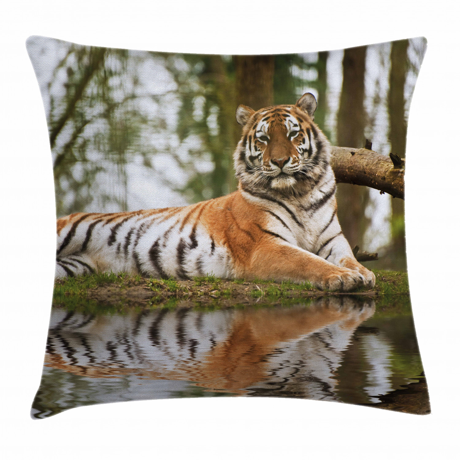 Tiger Throw Pillow Cushion Cover Beast Of Siberia Resting On A Warm Day On A Lake With Its Reflection Altaica Mammal Decorative Square Accent Pillow Case 24 X 24 Inches Pale Brown