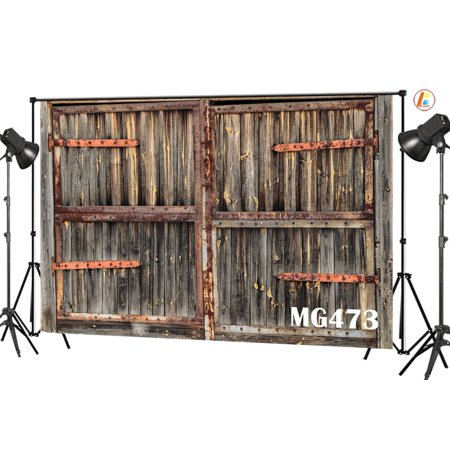 HelloDecor Polyster 7x5ft Rustic Barn Door Photography Backdrops Studio Background Vintage Farmhouse Photo Backdrop Studio Props - Barn Door Backdrop