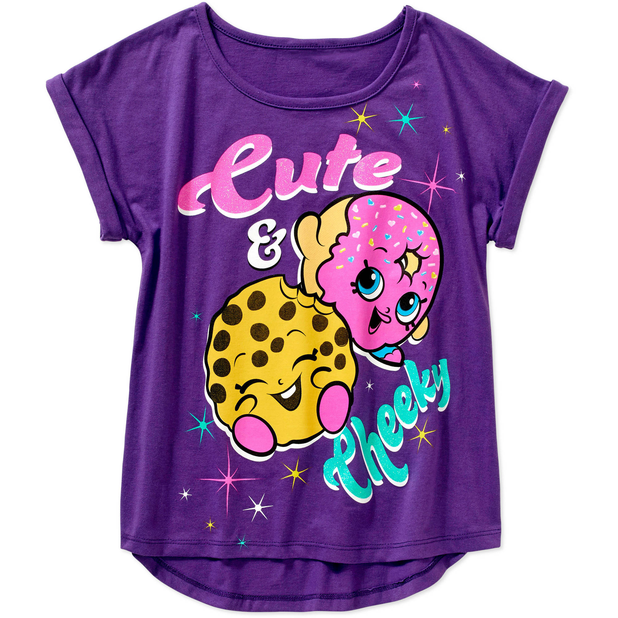 Shopkins Girls' Cute and Cheeky Short Sleeve Crew Neck Graphic Tee