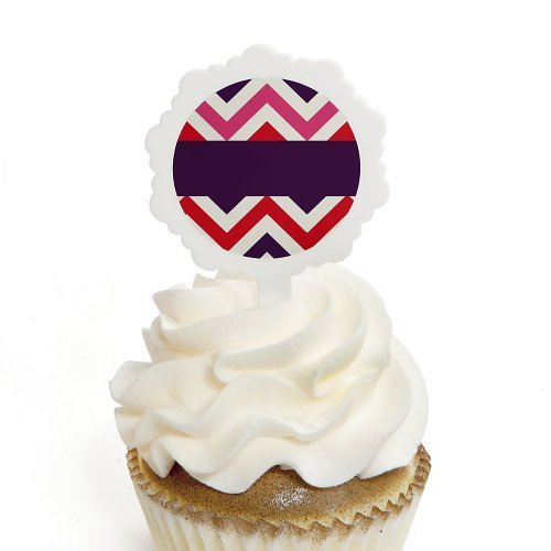 Chevron Girl Bruffday - Cupcake Picks with Stickers Party Cupcake Toppers - 12 Count