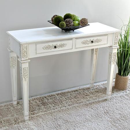Antique Carved Furniture - International Caravan Windsor Antique White Hand Carved 2 Drawer Console Table