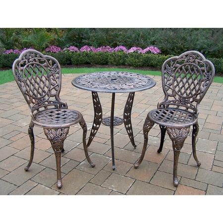Oakland Living Corporation Camellia Antiqued Bronze Cast Aluminum 3-piece Bistro Set