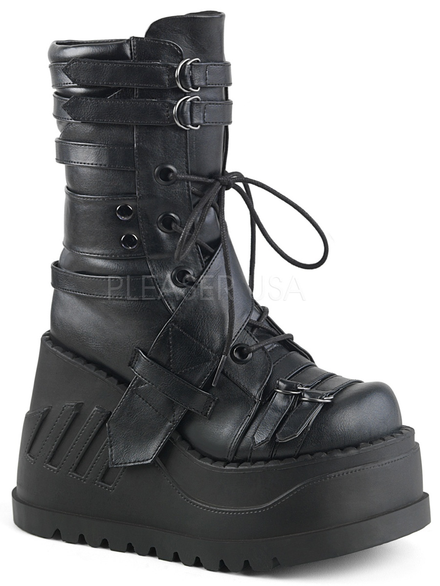 STOMP-26, 4 3/4'' Platform Wedge Lace-Up  Mid-Calf Boot