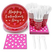 Valentine's Day Party Pack Set - Serves 24 Guests - Includes Paper Plates, Cups, Napkins, Forks, Knives and Spoons