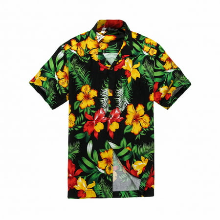 Black Floral Shirt - Hawaiian Shirt Aloha Shirt in Black with Yellow and Red Floral