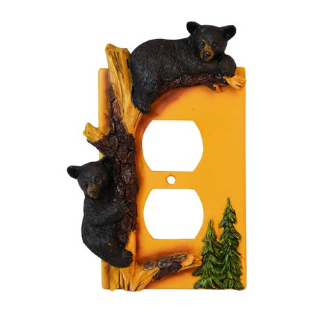 Black Bear Outlet Cover Home Decor - Wildlife Bear Climbing Tree Rustic Hunting with Wall Mounting Screws