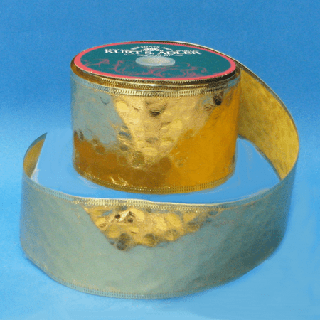 Gold Embossed Faux Leather Christmas Ribbon Spool 2.5