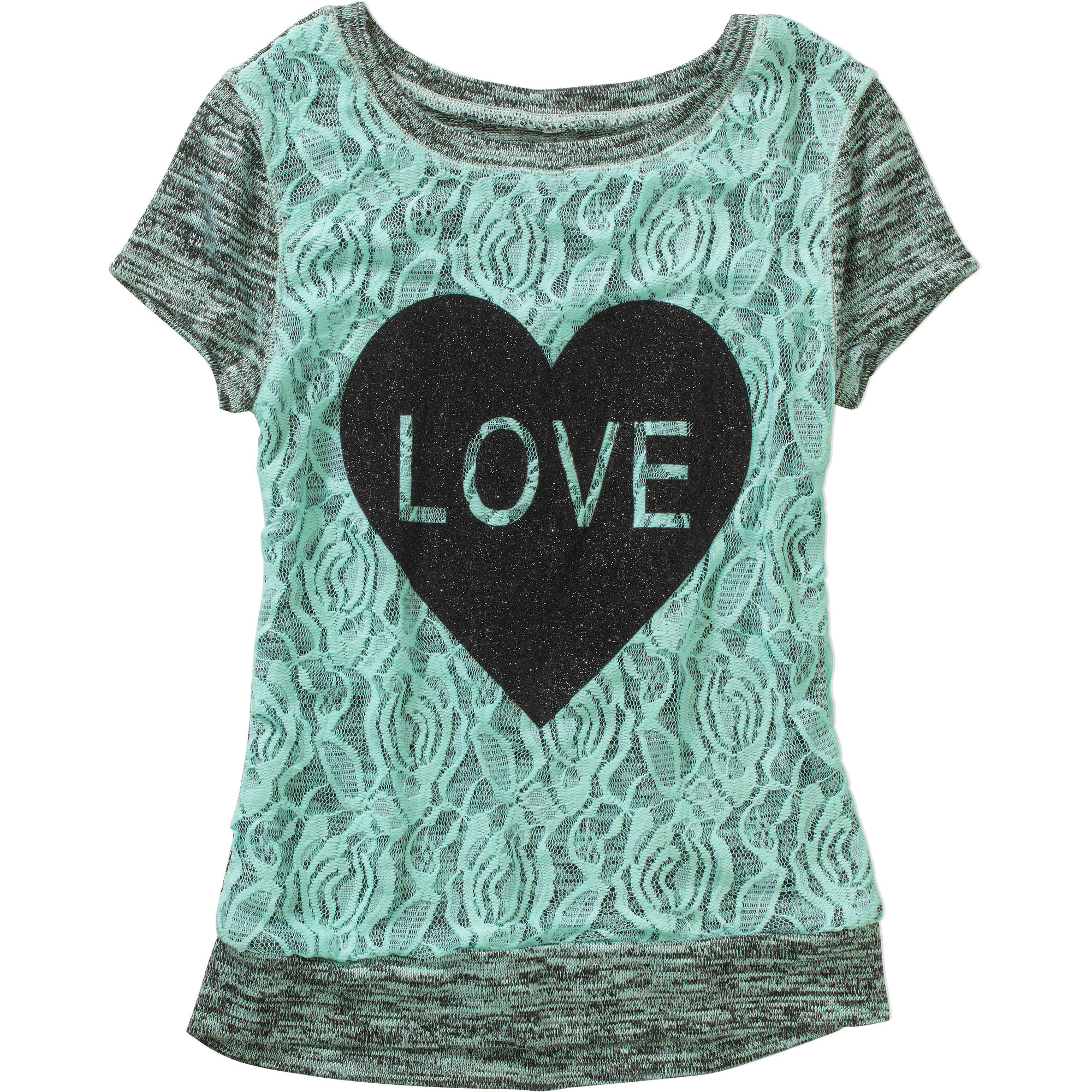 Miss Chievous Girls' Crochet Overlay Love Heart Top