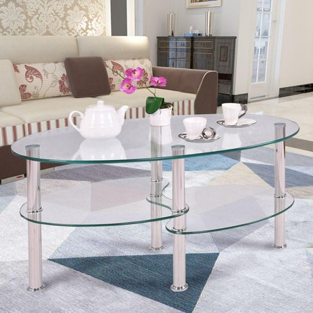 Ktaxon Clear Glass Oval Side Coffee Table Shelf Chrome Base Living Room Furniture ()