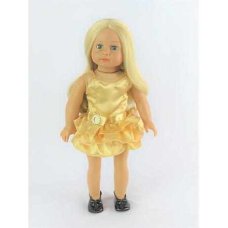 998b9da72928a Gold Mini Dress with Shoes   Fits 18