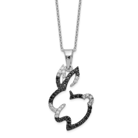 Cheryl M Sterling Silver Rhodium Plated CZ Bunny Rabbit 18in Necklace(Length: 18 inch Width:17mm) (Peter Rabbit Silver Plated)
