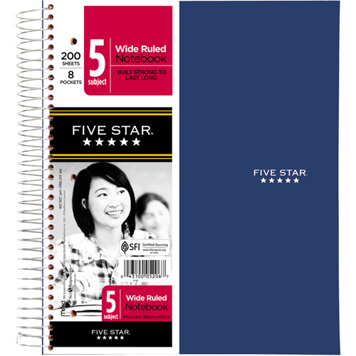 Five Star 5-Subject Wirebound Notebook, Wide Rule, 200 sheets