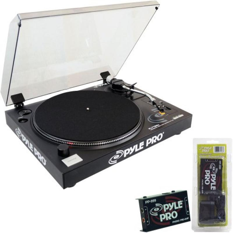 Pyle Turntable Record Player and Pre-Amplifier Package PLTTB3U Belt Drive USB Turntable... by Pyle