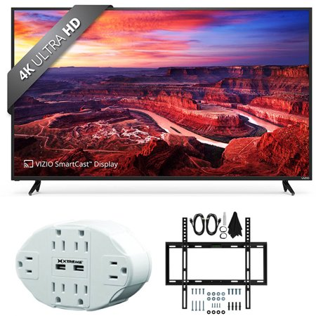 Vizio E50-E3 SmartCast 50″ Ultra HD Home Theater Display TV w/ Flat Wall Mount Bundle includes TV, 6 Outlet Wall Tap w/ 2 USB Ports and Flat Wall Mount Ultimate Kit