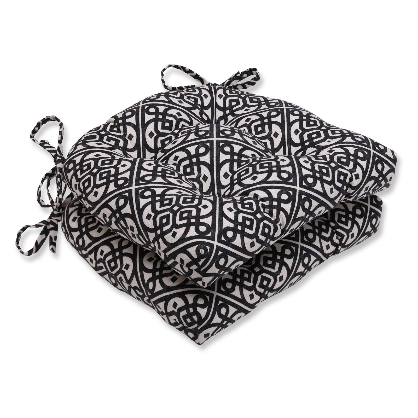 Pillow Perfect Lace It Up Ebony 16 x 15.5 in. Reversible Chair Pad Set of 2 by Overstock