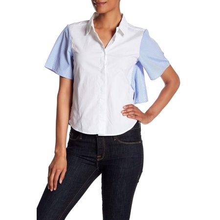 Womens Small Colorblock Button Down Shirt S
