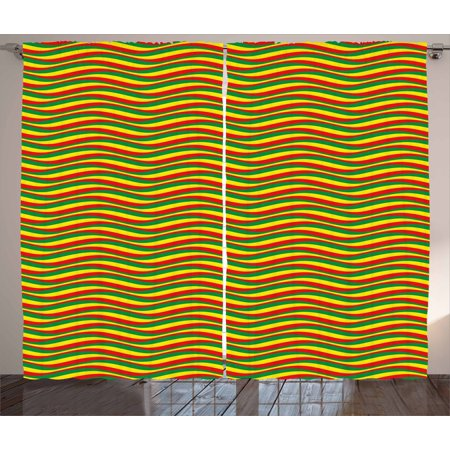 - Rasta Curtains 2 Panels Set, Vivid Colors Ethiopian African Flag Colors in Wavy Style Stripes Image, Window Drapes for Living Room Bedroom, 108W X 63L Inches, Marigold Green and Red, by Ambesonne