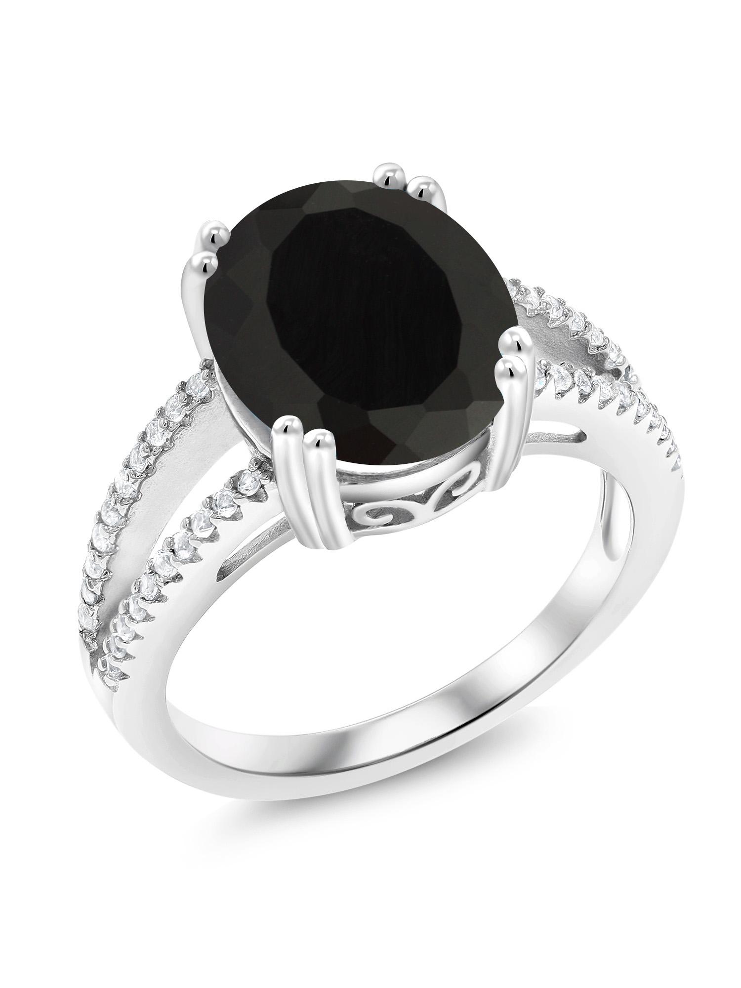 Wedding Ring Anniversary Ring Black Gemstone Ring 925 Sterling Silver Ring Engagement Ring Black Onyx Ring