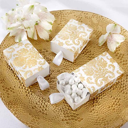 Damask Party Favors (Kate Aspen Treasures Gold Damask Favor Box (2 Sets of 24, 48 pcs) - Perfect Party Favor Container for Weddings, Baby Showers, Bridal Showers or)
