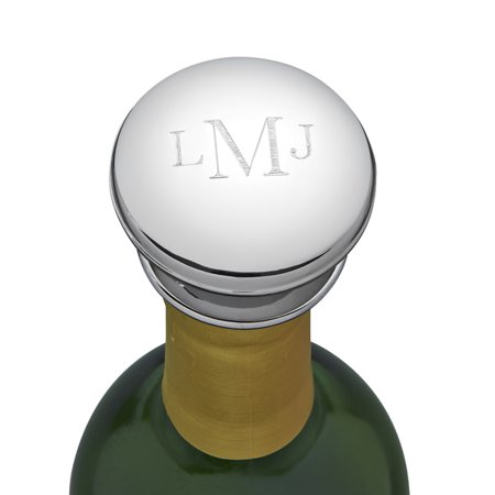 Personalized Monogrammed Silver Toned Chrome Plated Silhouette Wine Stopper