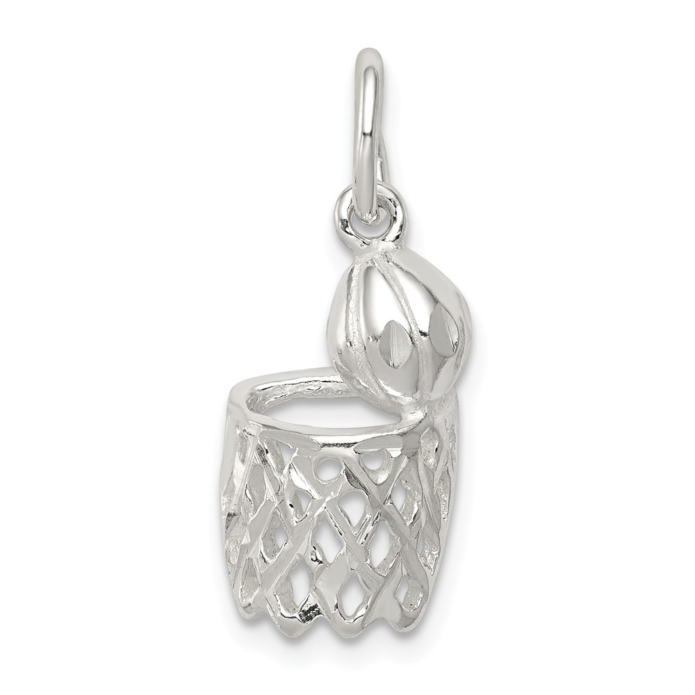 Sterling Silver Basketball Hoop Charm (0.7in long x 0.4in wide)