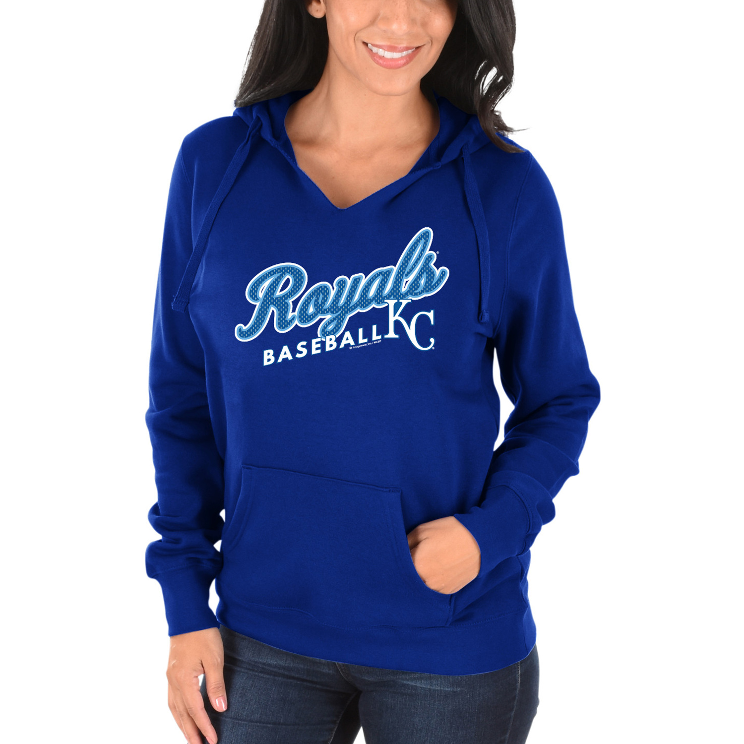 Women's Majestic Royal Kansas City Royals Fresh & Exciting V-Neck Pullover Hoodie