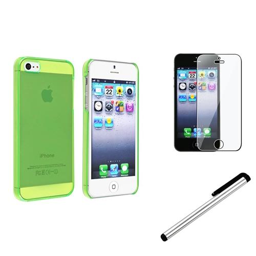 Insten Clear Green Slim Hard Case+Silver Stylus+Clear Screen Protector For iPhone SE 5S
