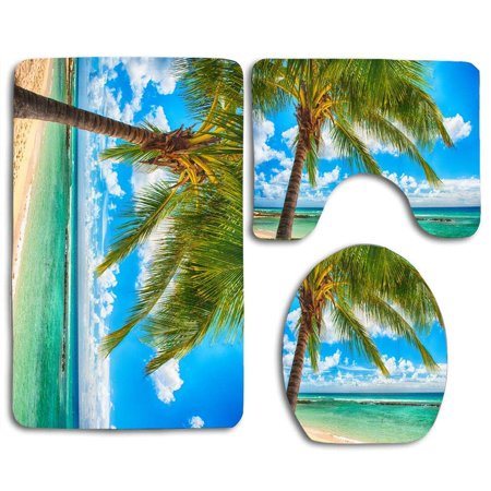 EREHome Beach Palm 3 Piece Bathroom Rugs Set Bath Rug Contour Mat and Toilet Lid Cover - image 2 of 2