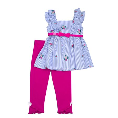 Skirted Legging Set (Floral Embroidered Belted Top and Legging, 2-Piece Outfit Set (Little Girls))