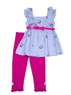 005aea9a28bc Product Image Floral Embroidered Belted Top and Legging, 2-Piece Outfit Set  (Little Girls)