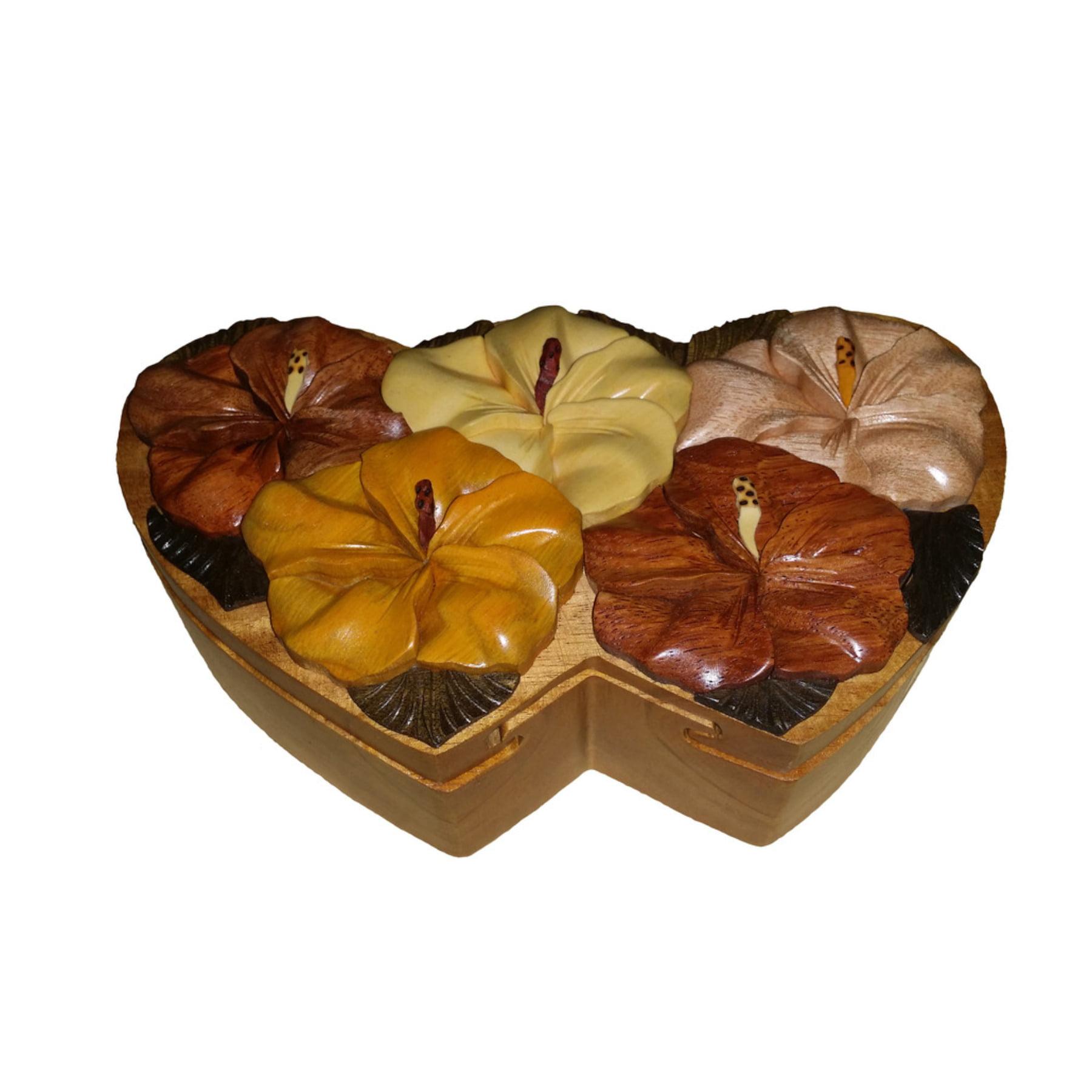 Hawaiian Style Wood Keepsake Jewelry Puzzle Box Hibiscus ...