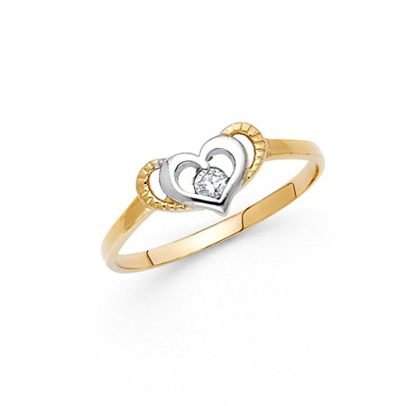 ae9413a26 Solid 14k White Yellow Gold Heart Ring CZ Love Band CZ Right Hand Diamond  Cut Polished Finish, Size 6