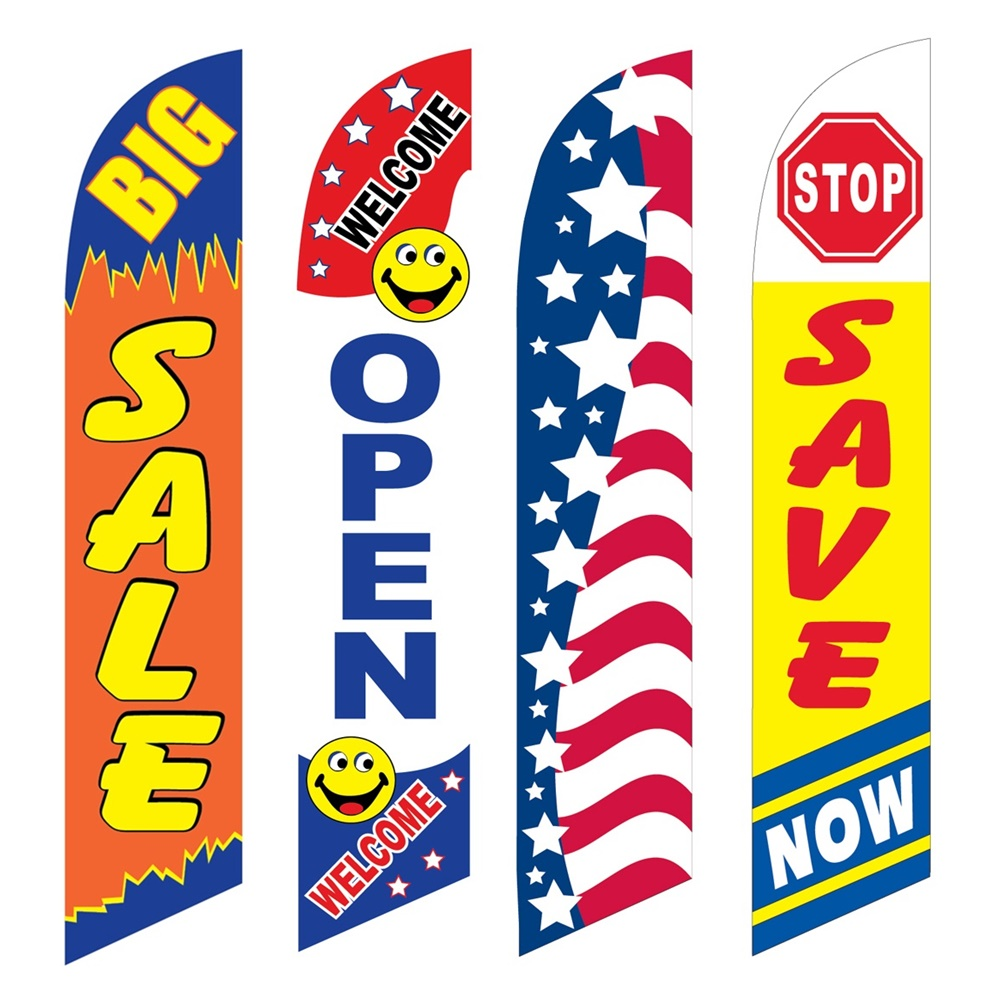 4 Advertising Swooper Flags Big Sale Welcome Open Patriotic Save Now