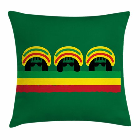 Jamaican Throw Pillow Cushion Cover, Jamaican Reggae Culture Inspired Minimal Head Shapes with Hats Country Flag, Decorative Square Accent Pillow Case, 20 X 20 Inches, Green Multicolor, by (Square Head Shape)