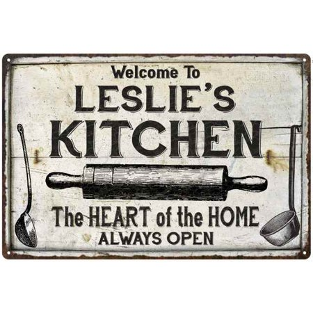 LESLIE'S Kitchen Farmhouse Sign Gift Personalized 8x12 Metal (Personalized Gift Knees)