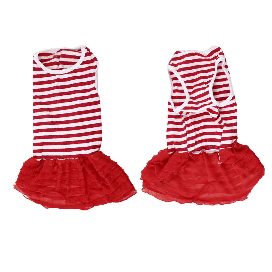 Unique Bargains Pet Dog Poodle Tiered Sleeveless Red White Stripe Pattern Dress Clothes M