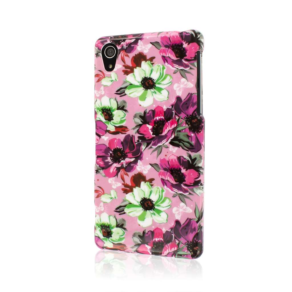MPERO SNAPZ Series Glossy Case for Sony Xperia Z2 - Vintage Pink Flower